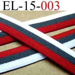 élastique plat souple belle qualité couleur gris blanc et rouge largeur 15 mm vendue au mètre
