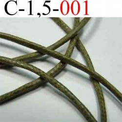 cordon en coton ciré couleur vert kaki diamètre 1,5 mm vendu au mètre