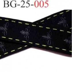 biais galon ruban  couleur noir  décor  abeilles  en gris et le liseret en vert superbe largeur 25 mm vendu au mètre
