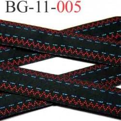 biais galon ruban couleur noir et rouge avec des liserets bleu largeur 11 mm vendu au mètre