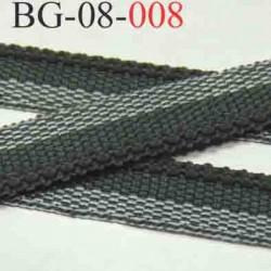 biais galon ruban couleur gris et blanc et gris anthracite rebord côtelé et caoutchouté  largeur 8 mm vendu au mètre