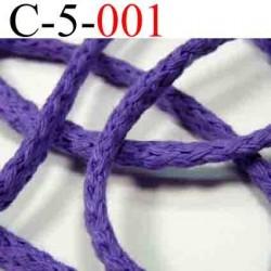 cordon en coton couleur violet diamètre 5 mm vendu au mètre