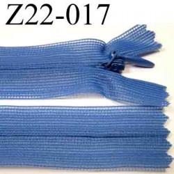 fermeture éclair invisible bleu longueur 22 cm couleur bleu  non séparable zip nylon largeur 2.5 cm