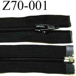 fermeture éclair longueur 70 cm couleur noir séparable zip nylon largeur 3 cm largeur du zip 6 mm