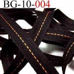 biais droit galon ruban couleur noir avec liseret orange  largeur 10 mm vendu au mètre