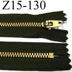fermeture éclair YKK longueur 15 cm couleur marron vert kaki non séparable largeur 2.6 cm glissière métal largeur 4.5 mm