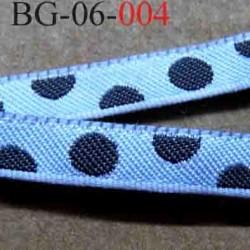 biais galon ruban couleur bleu avec des points marron foncé très solide largeur 6 mm vendu au mètres