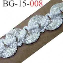 biais galon ruban en tresse couleur blanc écru lumineux brillant très beau très souple et doux largeur 15 mm vendu au mètre