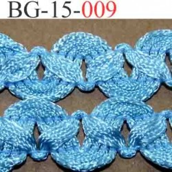 biais galon ruban en tresse couleur bleu lumineux brillant très beau très souple et doux largeur 15 mm vendu au mètre