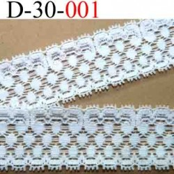 dentelle élastique galon  largeur 30 mm couleur blanc vendu au mètre