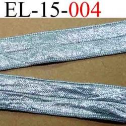 élastique plat souple belle qualité couleur gris argent très brillant largeur 15 mm vendue au mètre