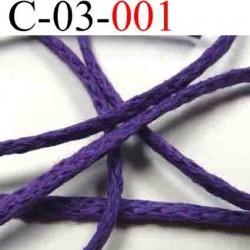 cordon en coton couleur violet diamètre 3 mm vendu au mètre