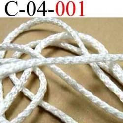 cordon en polyamide couleur blanc lumineux diamètre 4 mm vendu au mètre