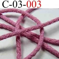 cordon en coton couleur rose diamètre 3 mm vendu au mètre