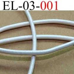 élastique cordon très belle qualité couleur blanc lumineux largeur 3 mm vendu au mètre