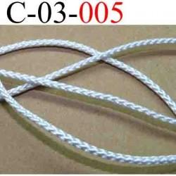 cordon en polyamide couleur  blanc lumineux très solide diamètre 3 mm vendu au mètre
