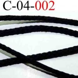 cordon en coton couleur noir diamètre 4 mm vendu au mètre