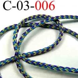 cordon en polyamide couleur multicolor bleu violet vert jaune lumineux diamètre 3 mm vendu au mètre