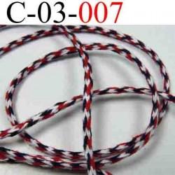 cordon en coton couleur multicolor blanc rouge et noir diamètre 3 mm vendu au mètre