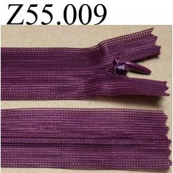 fermeture éclair longueur 55 cm invisible couleur bordeau non séparable zip nylon largeur 2.4 cm