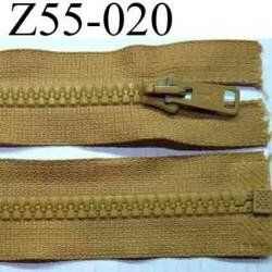 fermeture éclair longueur 55 cm couleur beige caramel séparable largeur 3.2 cm zip glissière nylon largeur 6 mm