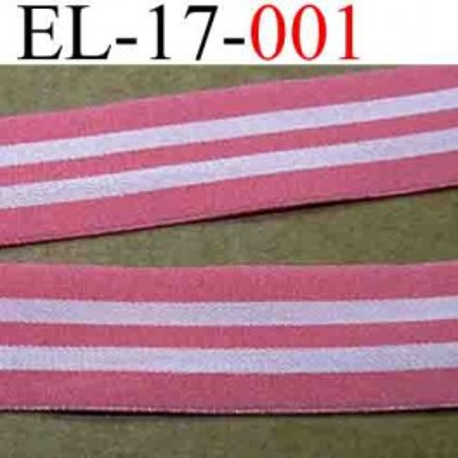 élastique plat souple très belle qualité couleur rose et blanc rosé largeur 17 mm vendu au mètre