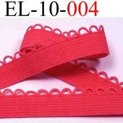 élastique plat couleur rose fushia +boucle style dentelle largeur 10 mm + 3 mm boucles largeur total 13 mm beau vendue au mètre