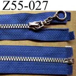 fermeture éclair longueur 55 cm couleur bleu séparable largeur 2,7 cm zip glissière métal largeur 5,5 mm