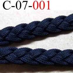 cordon tresse plat et épais largeur 7 mm épaisseur 2 mm couleur noir vendu au mètre