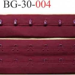 bande ruban galon  agrafe et crochet couleur bordeau rubis pour la fermeture de corset, bustier, largeur 30 mm vendu au metre