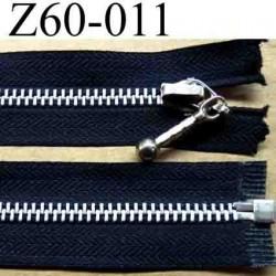 fermeture éclair longueur 60 cm couleur noir séparable zip métal largeur 3 cm largeur du zip 6  mm