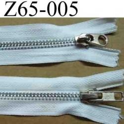 fermeture éclair  longueur 65 cm couleur blanc non séparable double curseur zip métal largeur 3 cm largeur du zip 6 mm