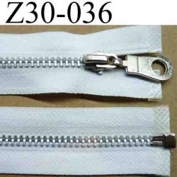 fermeture éclair blanche 35 cm couleur blanc séparable zip métal largeur 3 cm largeur du zip 6 mm