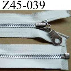 fermeture éclair blanche écru longueur 45 cm couleur blanc écru séparable largeur 2.9 cm zip glissière métal largeur du zip 6 mm