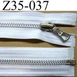 fermeture éclair blanche longueur 35 cm couleur blanc séparable  largeur 3.5 cm zip glissière métal largeur du zip 6 mm