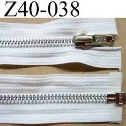 fermeture éclair YKK blanche longueur 40 cm couleur blanc  séparable largeur 3 cm zip glissière métal largeur du zip 6 mm