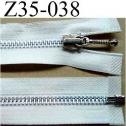 fermeture éclair blanche écru longueur 35 cm couleur blanc écru séparable largeur 3 cm zip glissière métal largeur du zip 6 mm