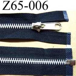 fermeture éclair longueur 65 cm couleur noir séparable zip métal largeur 3 cm largeur du zip 6 mm