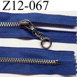 fermeture éclair longueur 12 cm couleur bleu non séparable zip métal nikel  largeur 2.5 cm largeur du zip 5 mm