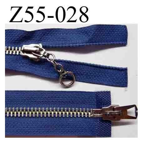 fermeture éclair longueur 55 cm couleur bleu séparable des 2 cotés 2 curseurs largeur 3 cm zip glissière métal largeur 6 mm