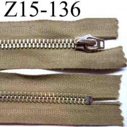 fermeture éclair longueur 15 cm couleur marron beige non séparable largeur 3.3 cm glissière métal largeur 6 mm