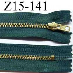 fermeture éclair longueur 15 cm couleur vert non séparable largeur 2.6 cm glissière métal  largeur 4 mm