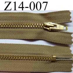 fermeture éclair longueur 14 cm couleur marron clair non séparable largeur 2.5 centimètres zip métal largeur 4 mm