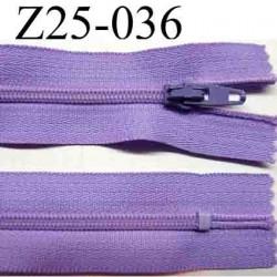 fermeture éclair longueur 25 cm couleur parme non séparable zip nylon largeur 2.5 cm largeur du zip 4 mm