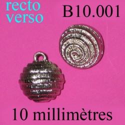bouton 10 mm accroche avec anneau