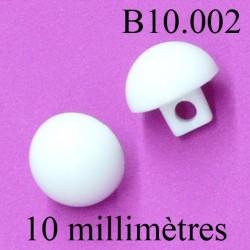 bouton 10 mm couleur blanc accroche avec anneau