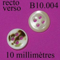 bouton 10 mm couleur marbré nacré 4 trous