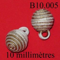 bouton 10 mm couleur blanc et doré accroche avec anneau