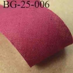 biais ruban galon a plat à plier en coton couleur bordeau largeur 2.5 cm vendue au mètre