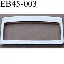Boucle etrier rectangle coulissant métal chromé argenté largeur extérieur 4.5 cm intér 4.1 cm hauteur extér 2.3 cm intér 1.4 cm